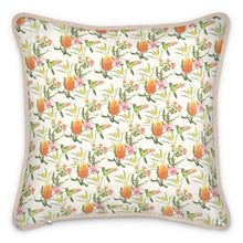 Load image into Gallery viewer, Pre-order: Australian Floral Silk Cushion - Peachy Pink