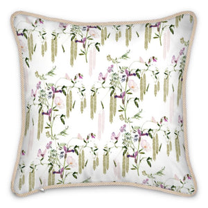 Pre-order: Pink Butterfly Floral Silk Cushion