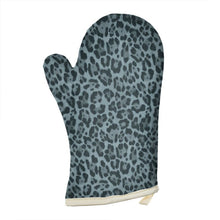 Load image into Gallery viewer, Petrol Blue Leopard Print Oven Glove