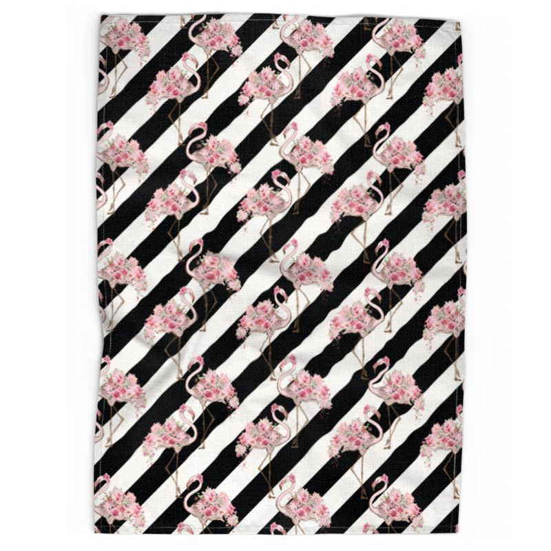 Floral Flamingos Black Stripe Tea Towel