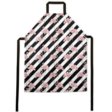 Load image into Gallery viewer, Pre-order: Floral Flamingos Black Stripe Apron