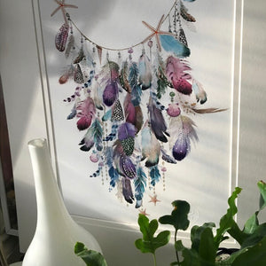 Shells & Feather Garland Print - Limited Edition