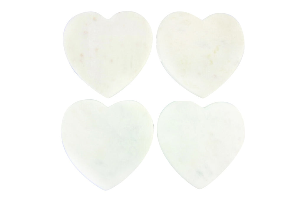 White Marble Heart Coasters