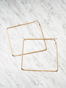 Square Golden Hoops