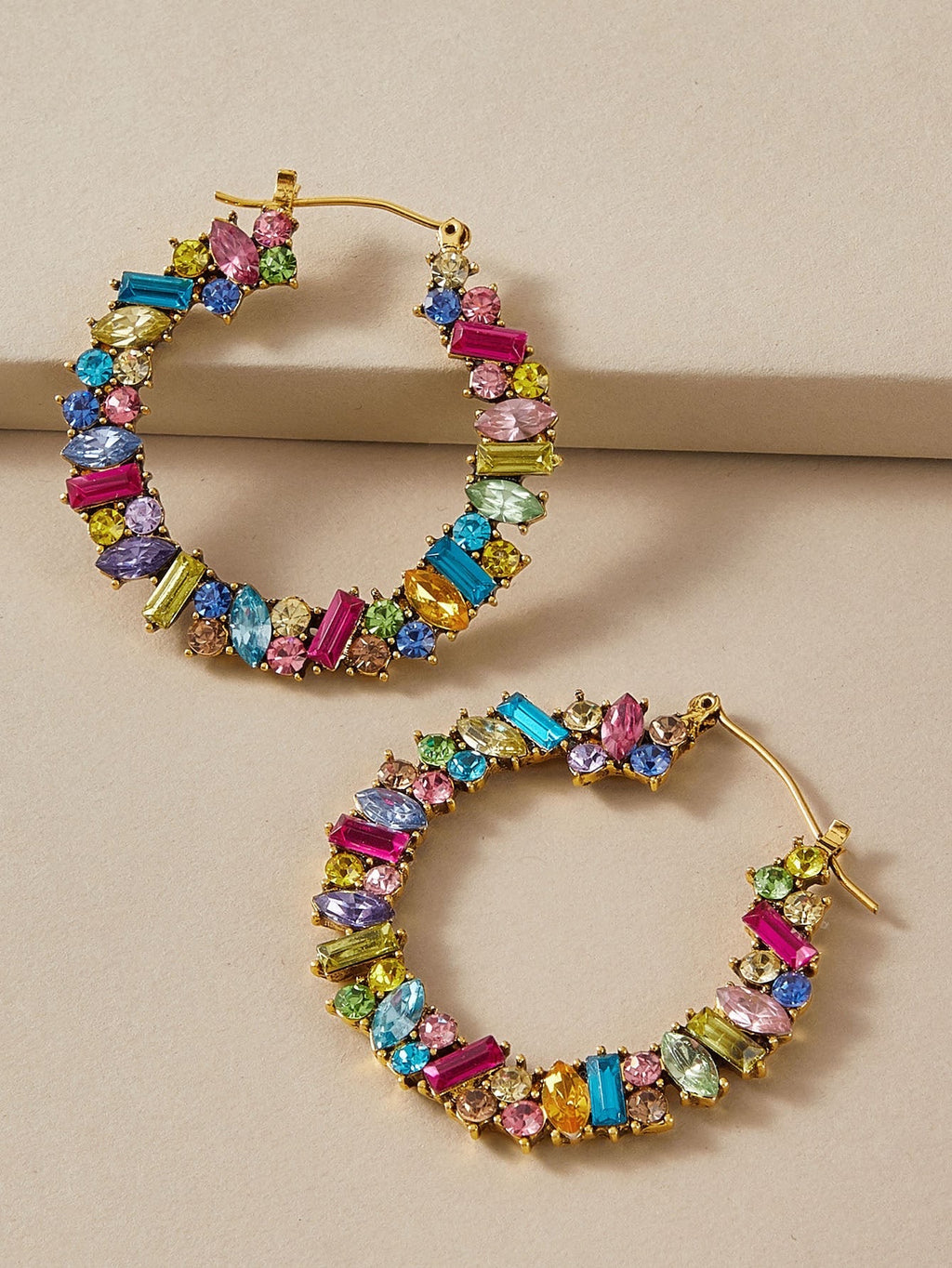 Gemstone Hooped Earrings