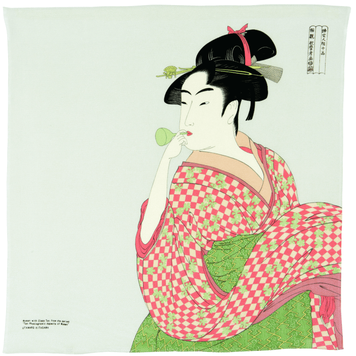 FUROSHIKI UKIYOE Japanese Wrapping cloth Omotenashi Square, LLC #1 A WOMEN PLAYING A POPPIN