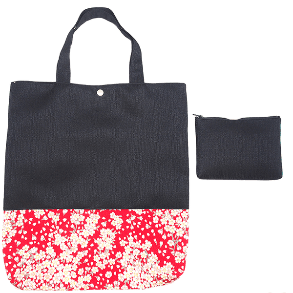 Kyoto style Tote bag with small pouch Omotenashi Square, LLC navy