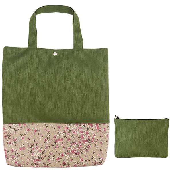 Kyoto style Tote bag with small pouch Omotenashi Square, LLC olivedrab