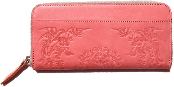 Long leather wallet with SHO-SO-IN pattern ASAGASUMI 2668 Omotenashi Square, LLC pink