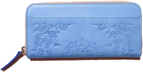 Long leather wallet with SHO-SO-IN pattern ASAGASUMI 2668 Omotenashi Square, LLC skyblue