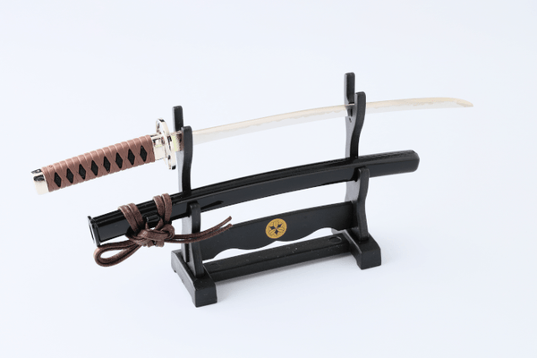 Mini Japanese Sword letter opener with display stand Omotenashi Square, LLC