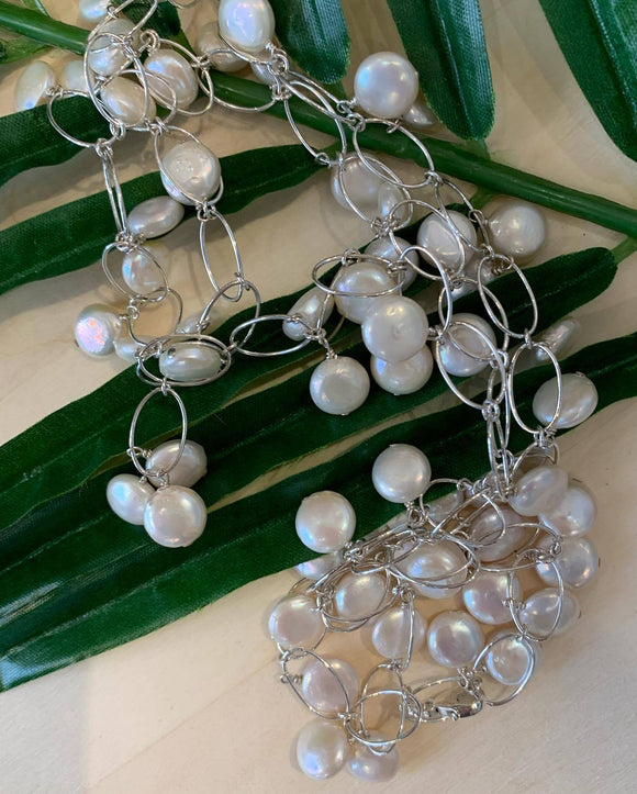 Fresh Water Coin Pearls and Lovely Sterling Silver Chain...Endless Possibilities.  Please note not available online.