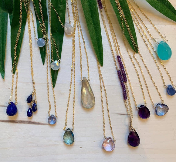 Classic Delicate Gemstone necklaces by Patti Hall, please note not available to buy online.