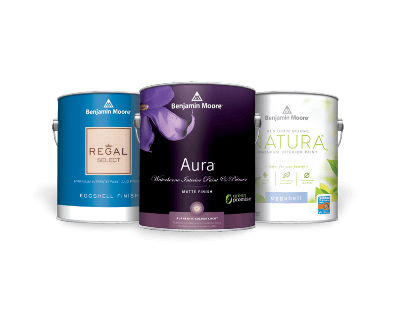 benjamin moore aura, regal select, and natural paint cans
