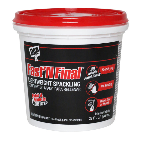 Dap Fast N Final Interior/Exterior Spackle Quart