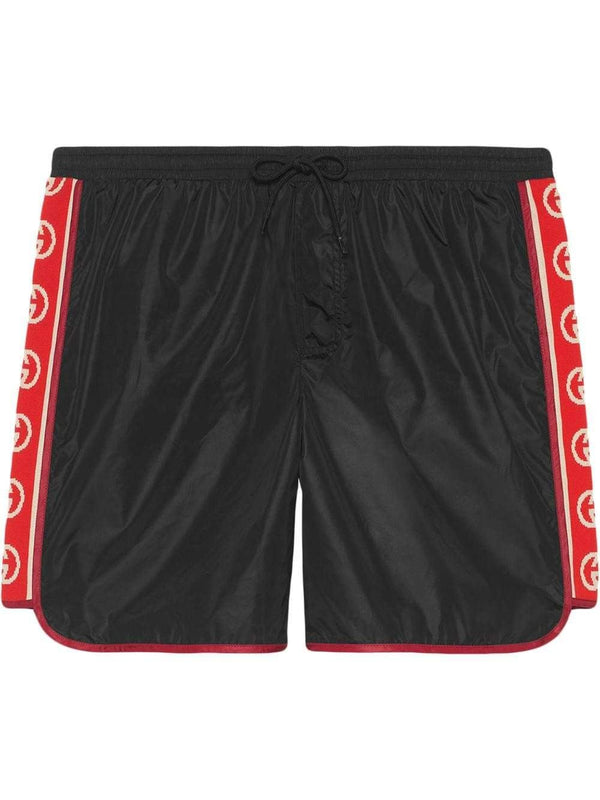 Nylon swim shorts with logo stripe