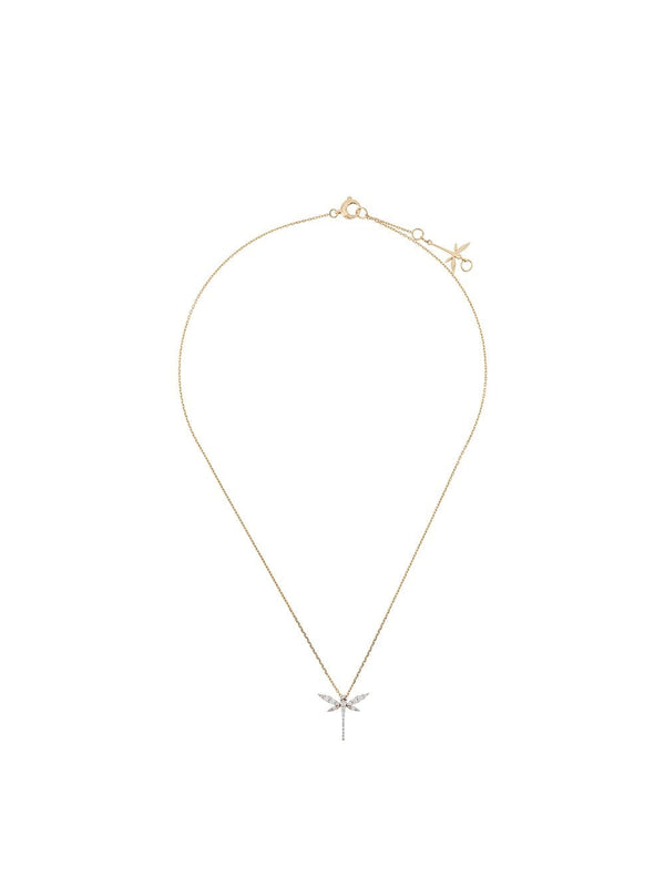 18KT YELLOW GOLD AND DIAMOND MINI DRAGONFLY NECKLACE