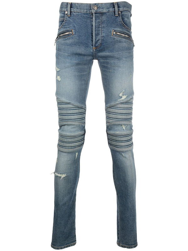 monogram embroidered slim-fit jeans