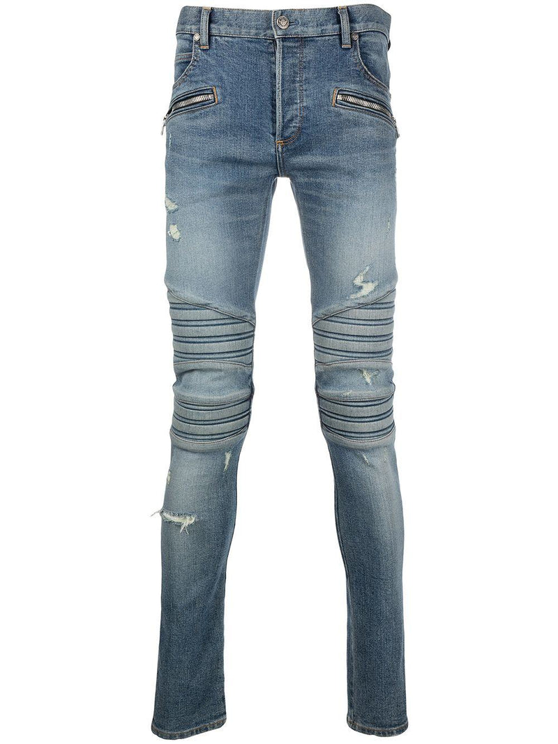 monogram embroidered slim-fit jeans - Verso