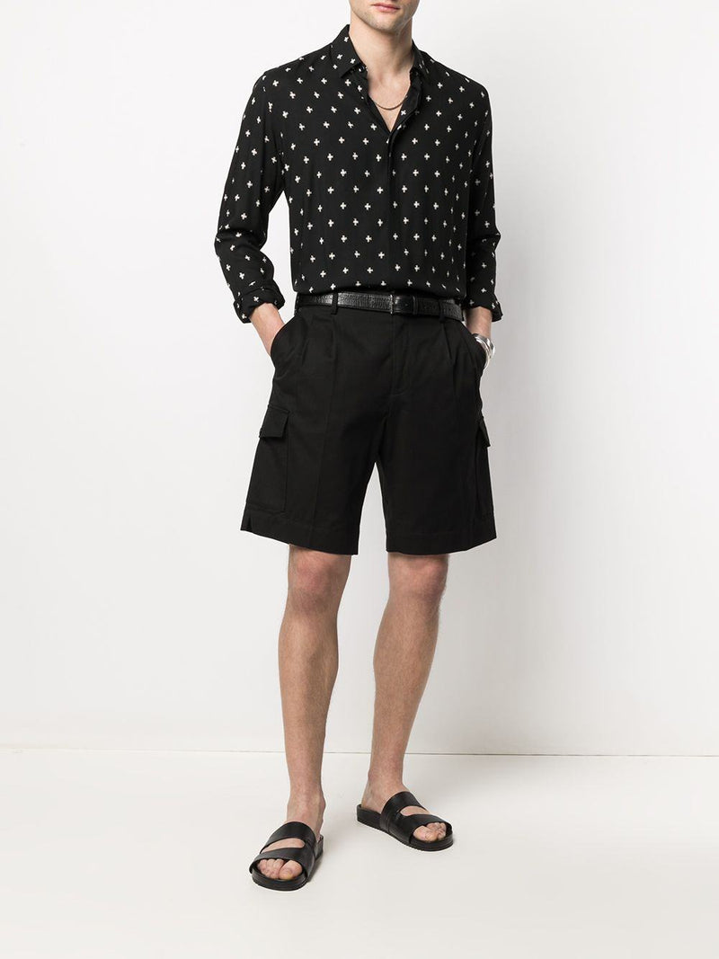 high-rise cotton cargo shorts - Verso