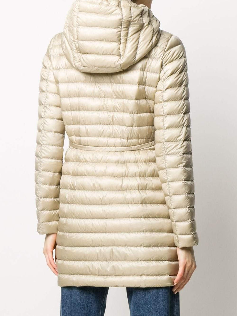 mid-length hooded down coat