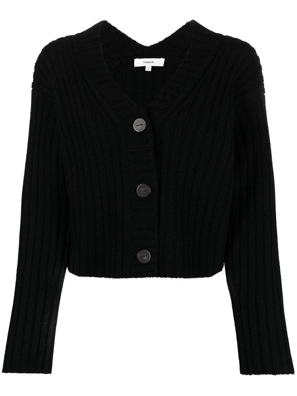 ribbed-knit cropped cardigan
