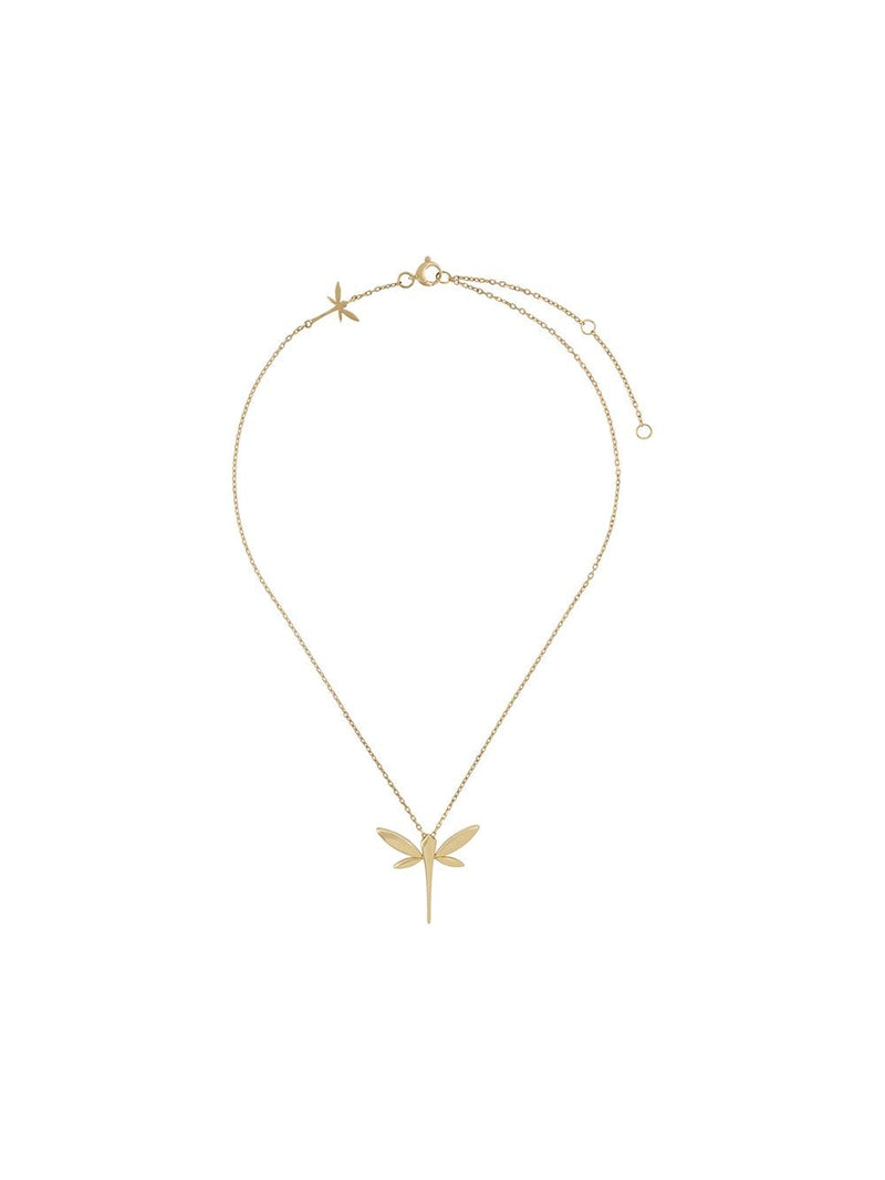 18KT YELLOW GOLD DRAGONFLY PENDANT NECKLACE