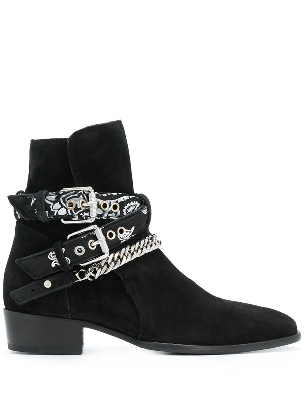 MULTI-BUCKLE SUEDE ANKLE BOOTS