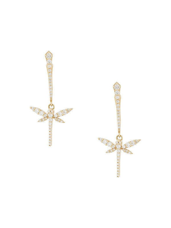 18KT YELLOW GOLD AND DIAMOND DRAGONFLY EARRINGS