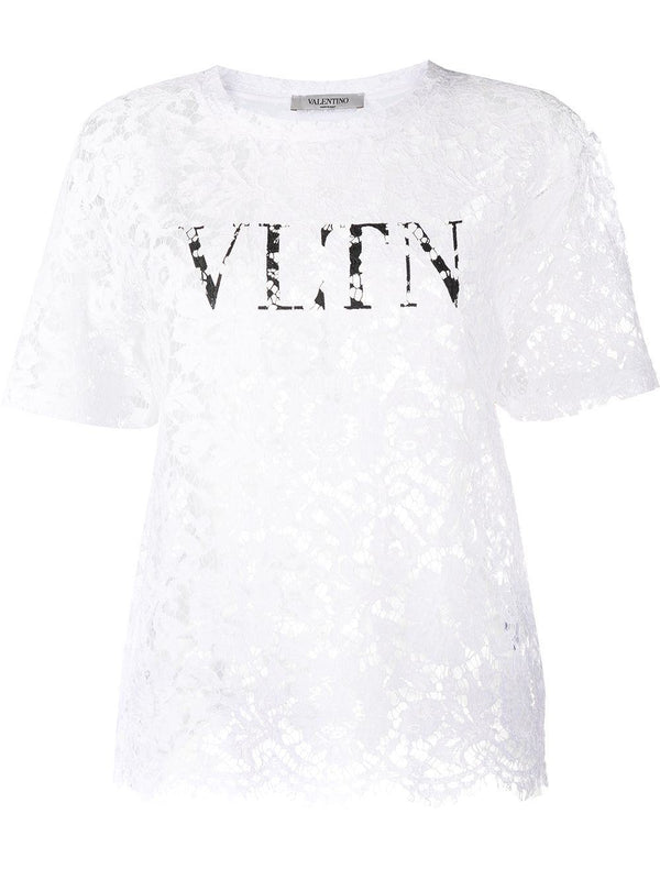 logo print lace-layered t-shirt