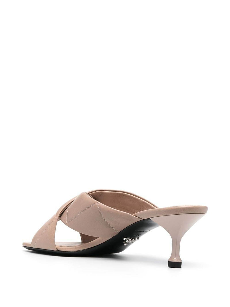 cross-strap leather mules