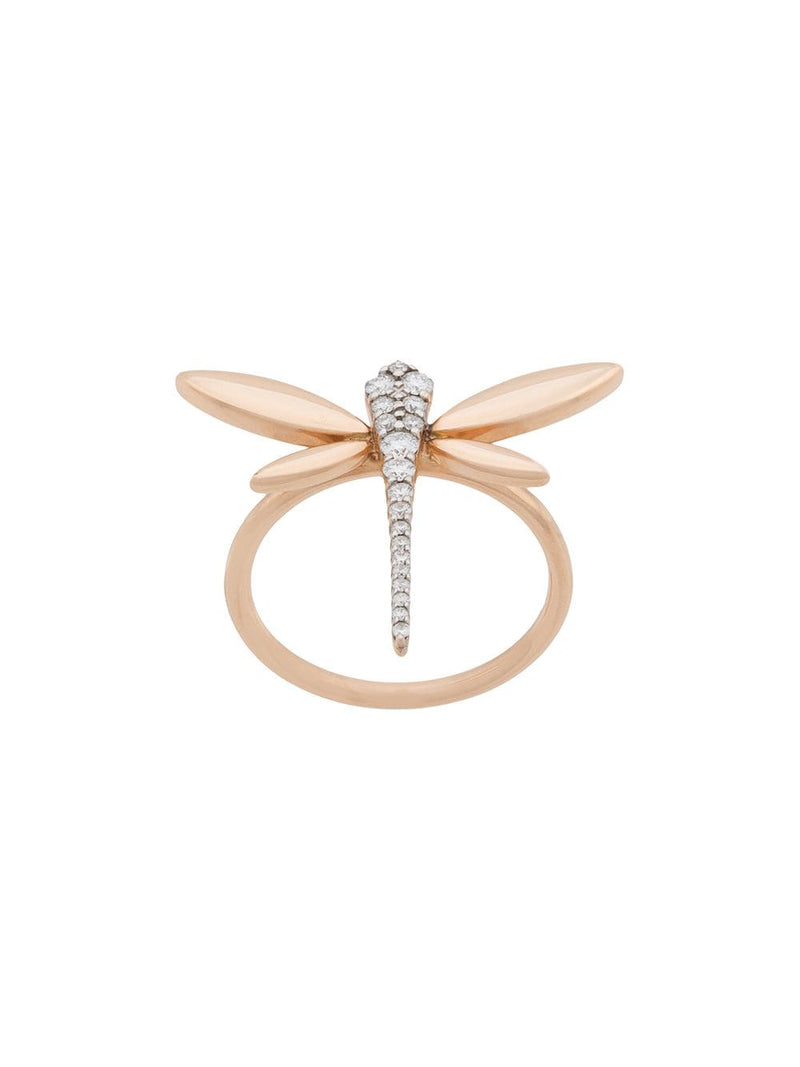 18KT ROSE GOLD DRAGONFLY DIAMOND RING