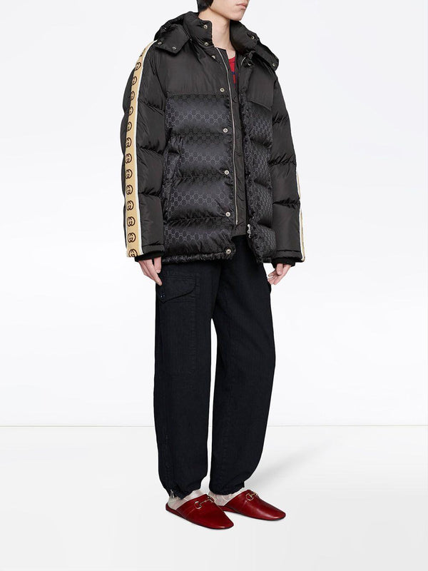 monogram pattern padded coat
