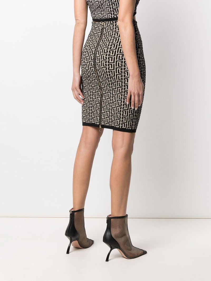 monogram jacquard skirt