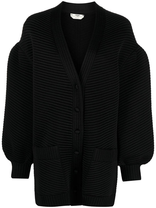 ribbed long-sleeve cardigan - Verso