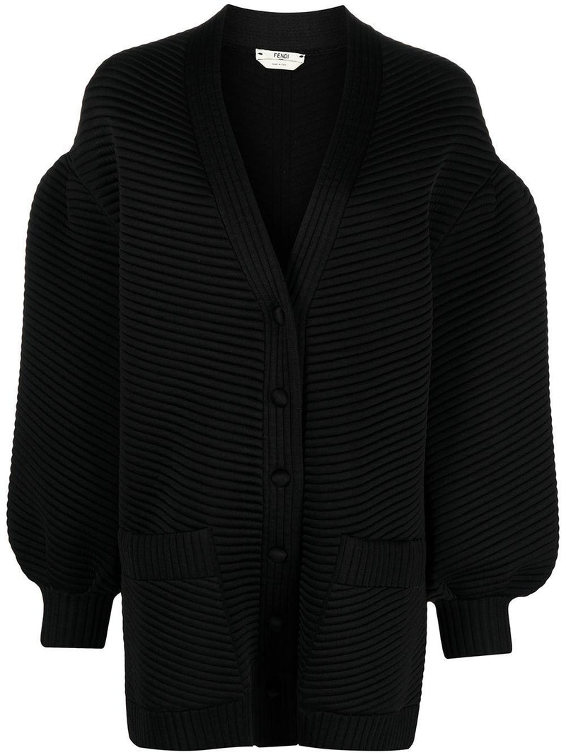 ribbed long-sleeve cardigan