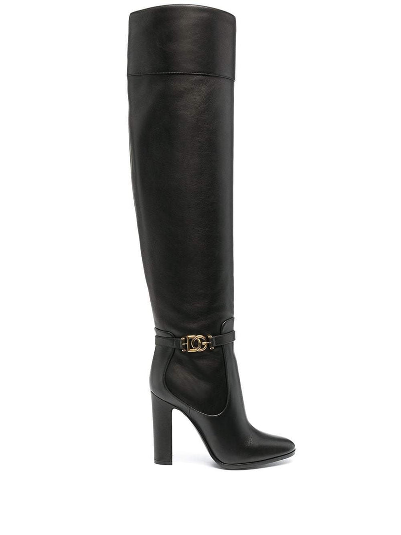 DG buckle knee-high boots