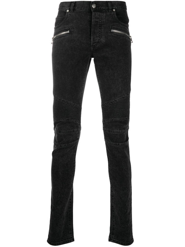 ribbed slim-fit jeans
