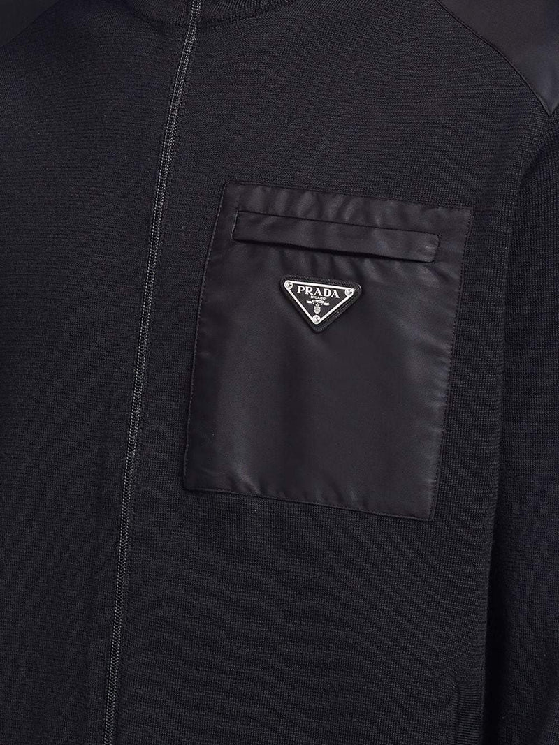 triangle logo zip-up cardigan