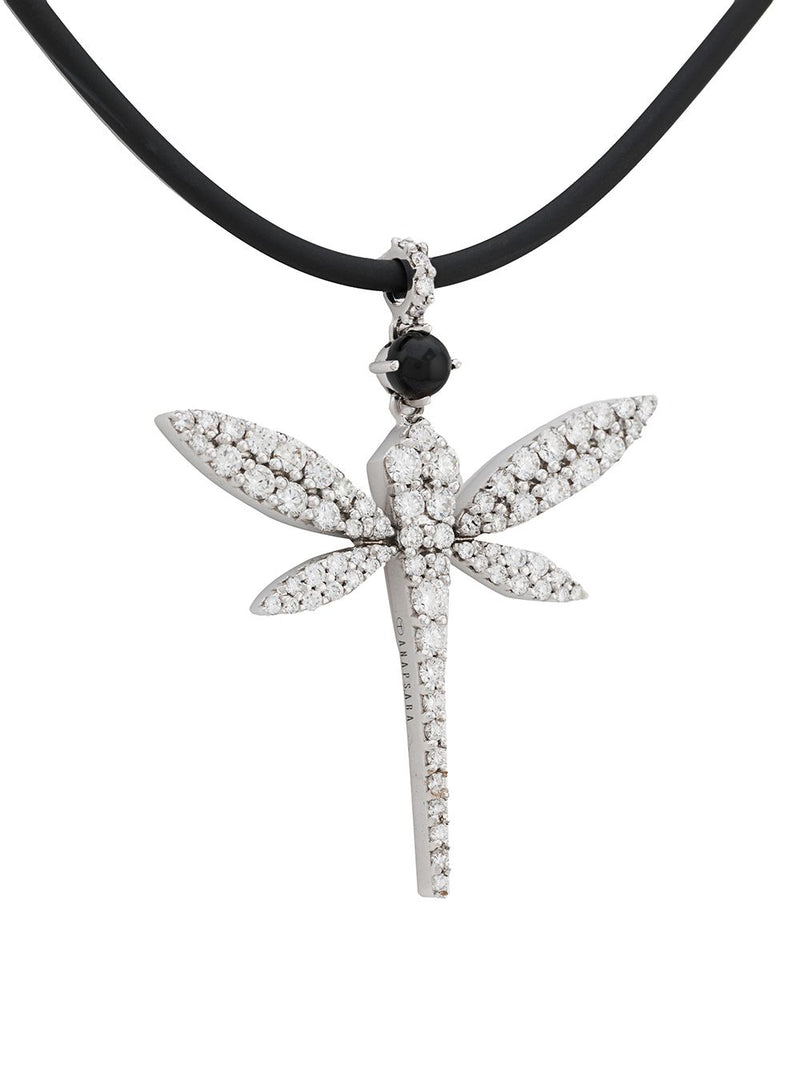 18KT WHITE GOLD DRAGONFLY DIAMOND PENDANT NECKLACE