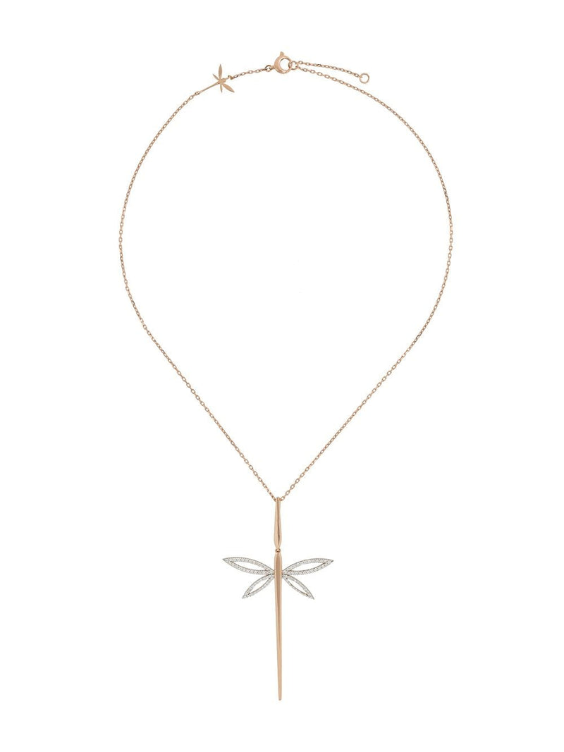 18KT YELLOW GOLD DRAGONFLY DIAMOND NECKLACE