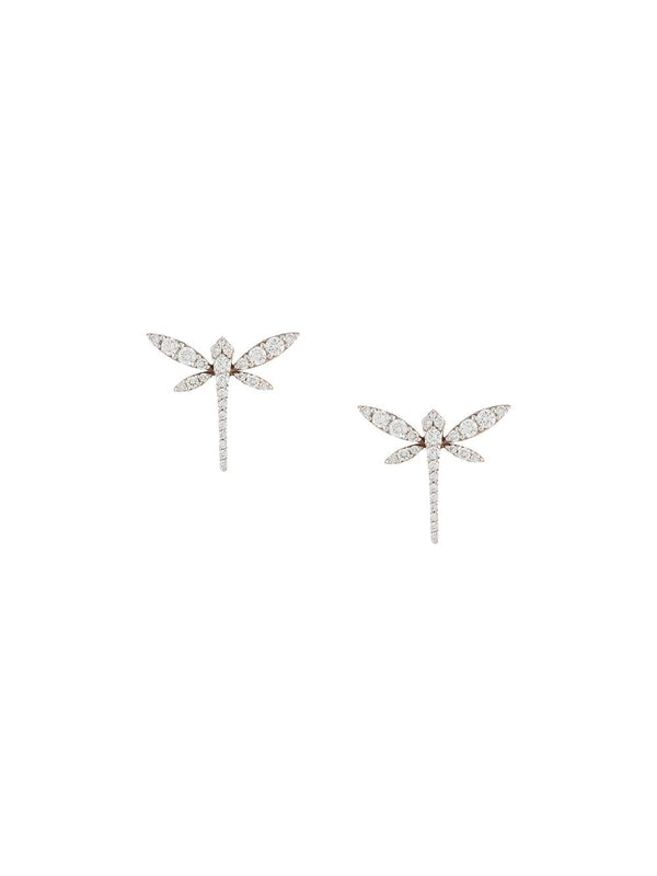 18KT ROSE GOLD AND DIAMOND MINI DRAGONFLY EARRINGS