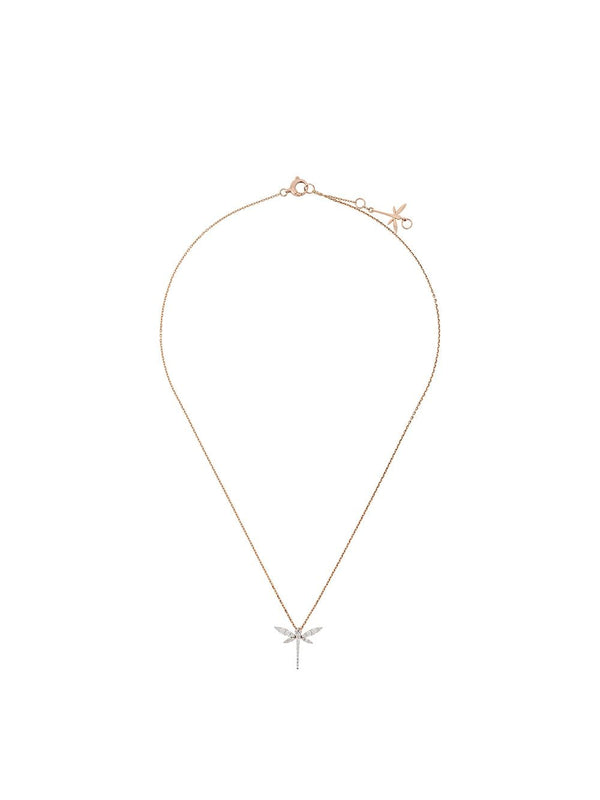 18KT ROSE GOLD AND DIAMOND MINI DRAGONFLY NECKLACE