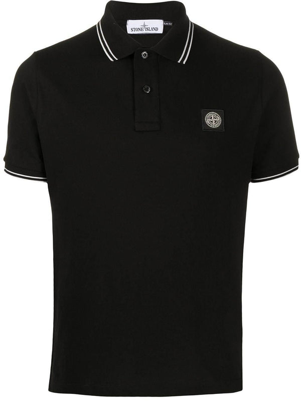 short-sleeved logo patch polo shirt