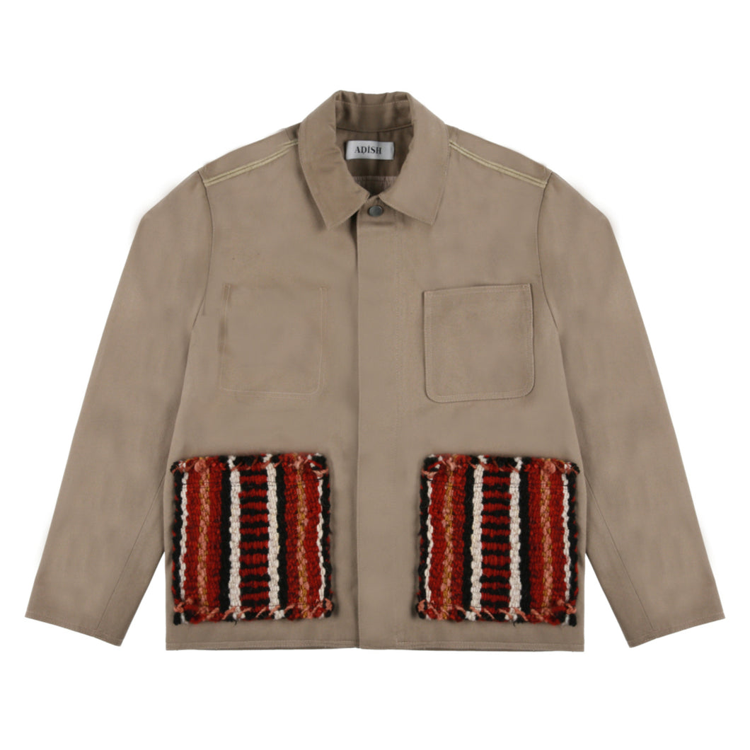 Hand-Woven Pockets Buttons Jacket (Brown)