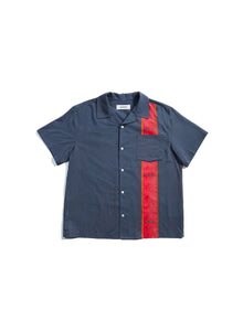 Wood Block Button Up Short Sleeve Shirt