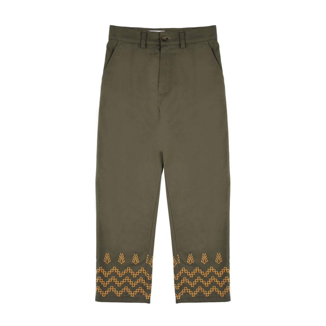 Sabalah Maouj Cotton Chino Trousers (Green)