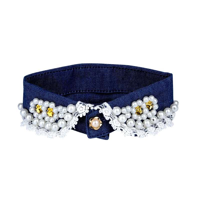 Denim Collar with Pearl - A043