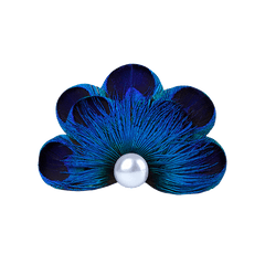Peacock Feather Pearl Pet Hair Clip - A050