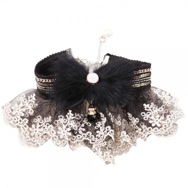Black Lace Collar with Butterfly - A006